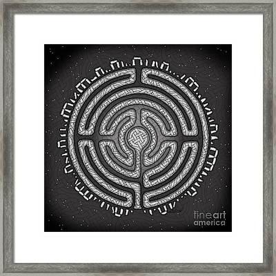 Framed Print featuring the mixed media Celtic Labyrinth Mandala by Kristen Fox