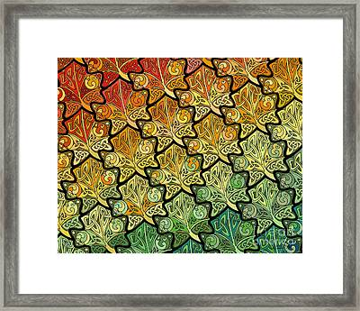 Framed Print featuring the mixed media Celtic Leaf Transformation by Kristen Fox