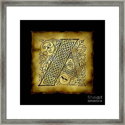 Celtic Letter A Monogram Framed Print