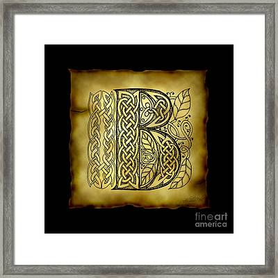 Celtic Letter B Monogram Framed Print