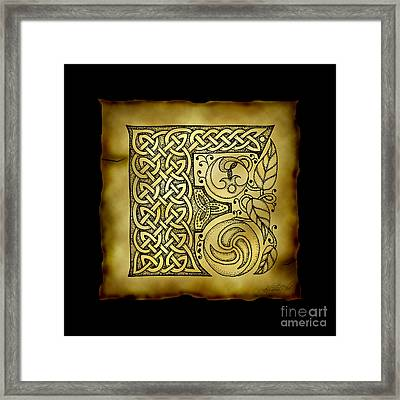 Celtic Letter F Monogram Framed Print