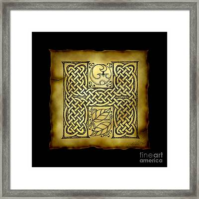 Celtic Letter H Monogram Framed Print