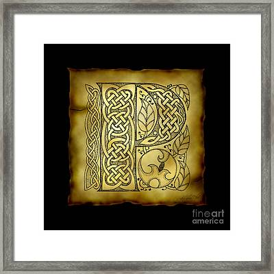 Celtic Letter P Monogram Framed Print