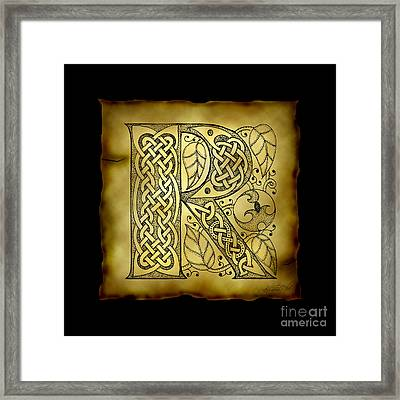 Celtic Letter R Monogram Framed Print