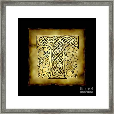 Celtic Letter T Monogram Framed Print