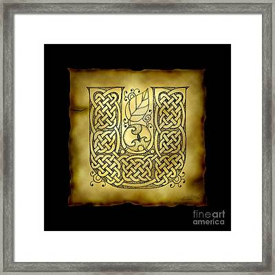 Celtic Letter U Monogram Framed Print by Kristen Fox