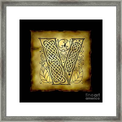 Celtic Letter V Monogram Framed Print