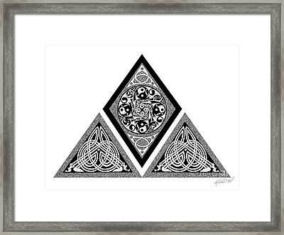 Framed Print featuring the mixed media Celtic Pyramid by Kristen Fox