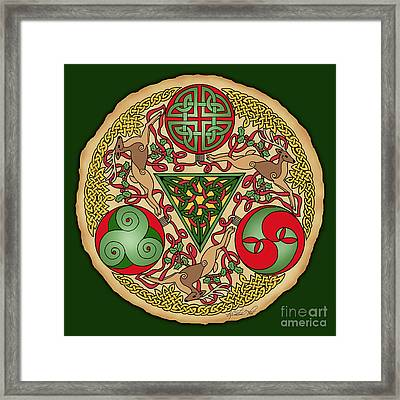 Framed Print featuring the mixed media Celtic Reindeer Shield by Kristen Fox