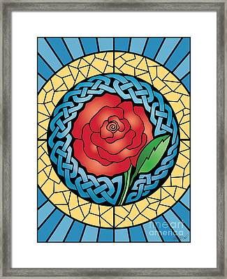 Framed Print featuring the mixed media Celtic Rose Stained Glass by Kristen Fox