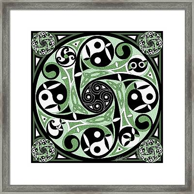 Framed Print featuring the mixed media Celtic Spiral Stepping Stone by Kristen Fox