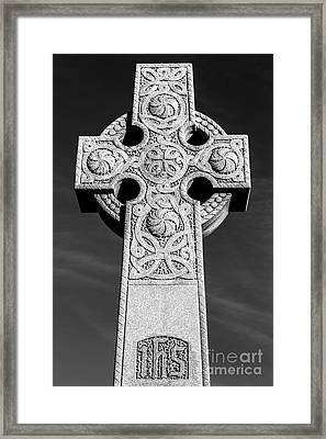 Celtic Stone Cross At Sunset Framed Print by Gary Whitton