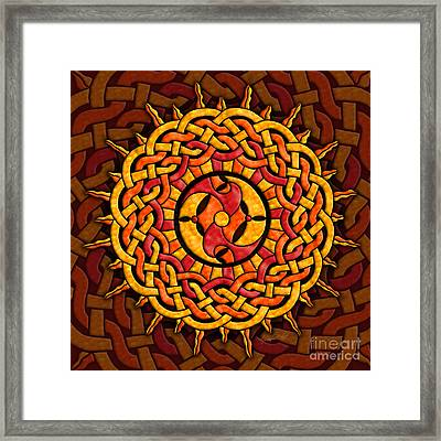 Framed Print featuring the mixed media Celtic Sun by Kristen Fox