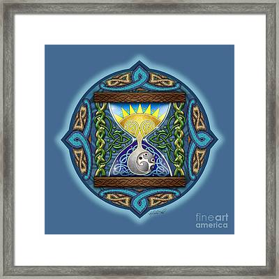 Framed Print featuring the mixed media Celtic Sun Moon Hourglass by Kristen Fox