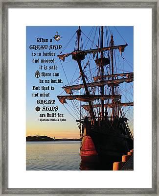 Celtic Tall Ship - El Galeon In Halifax Harbour At Sunrise Framed Print