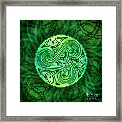 Framed Print featuring the mixed media Celtic Triskele by Kristen Fox