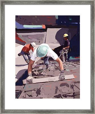 Cement And Rebar Framed Print by Brad Burns