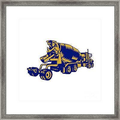 Cement Truck Rear Woodcut Framed Print by Aloysius Patrimonio