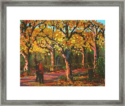 Cemetary In Autumn Framed Print by Art Nomad Sandra  Hansen