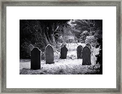 Cemetery And Snow Framed Print by Jane Rix