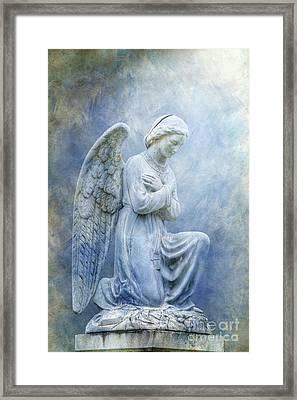 Cemetery Angel Statue In Blue Framed Print by Randy Steele
