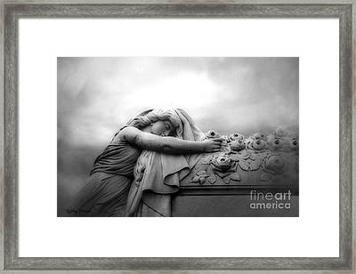 Cemetery Grave Mourner Black White Surreal Coffin Grave Art - Angel Mourner Across Rose Coffin Framed Print by Kathy Fornal