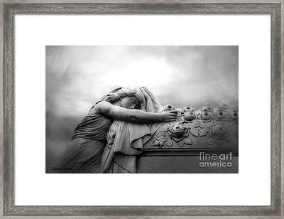 Cemetery Grave Mourner Black White Surreal Coffin Grave Art - Angel Mourner Across Rose Coffin Framed Print