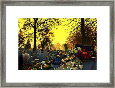 Cemetery In Feast Of The Dead Framed Print