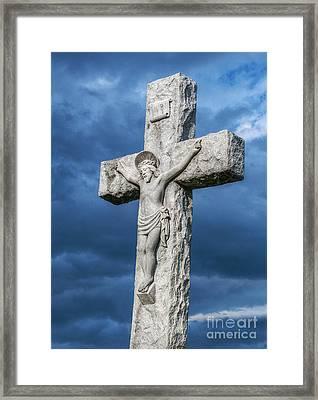 Cemetery Statue Of Jesus Framed Print by Randy Steele