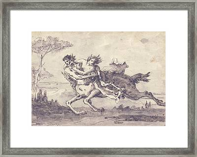 Centaur Abducting A Satyress Framed Print