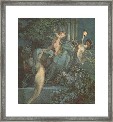 Centaur Nymphs And Cupid Framed Print by Franz von Bayros