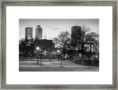Framed Print featuring the photograph Centennial Park Black And White - Tulsa City Skyline by Gregory Ballos