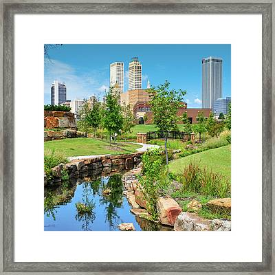 Centennial Park Tulsa Skyline View - Square Framed Print by Gregory Ballos