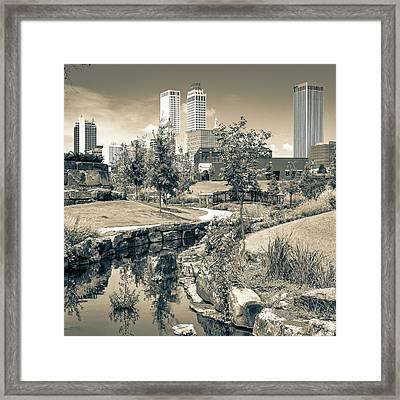 Centennial Park Tulsa Skyline View - Square - Sepia Framed Print by Gregory Ballos