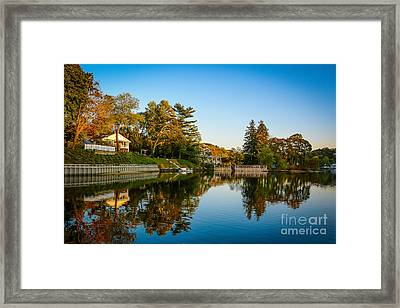 Centerport Harbor Autumn Colors Framed Print