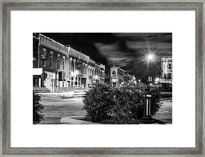 Central Avenue Lights - Bentonville Arkansas Skyline - Black And White Framed Print
