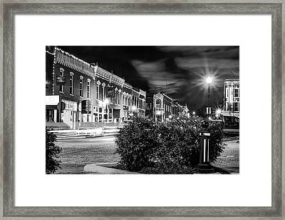 Central Avenue Lights - Bentonville Arkansas Skyline - Black And White Framed Print by Gregory Ballos