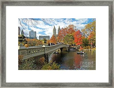 Central Park Autumn Cityscape Framed Print