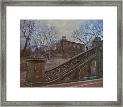 Central Park Bethesda Staircase Framed Print by Anita Burgermeister