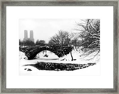 Central Park Duck Pond Framed Print by American School