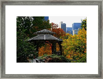 Central Park Gazebo Framed Print by Christopher Kirby