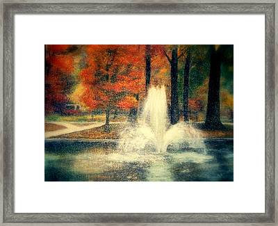 Central Park In Autumn Framed Print by Gail Kirtz