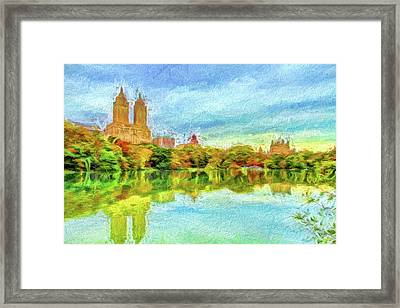 Central Park In Fall Framed Print by Geraldine Scull