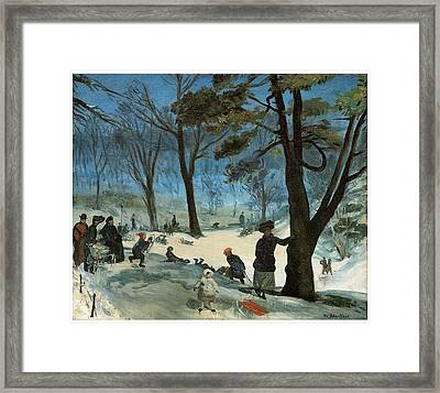 Central Park In Winter Framed Print by William Glackens