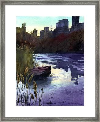 Framed Print featuring the painting Central Park Lake by Sergey Zhiboedov
