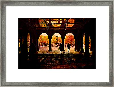 Central Park Nyc  Under The Bridge Framed Print by Jeff Burgess