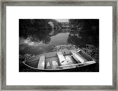 Framed Print featuring the photograph Central Park Rowboat Black And White Version by Dave Beckerman