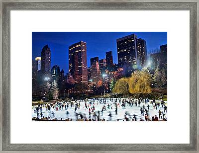 Central Park Skaters Framed Print by June Marie Sobrito