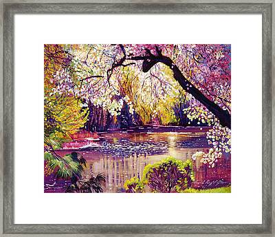 Central Park Spring Pond Framed Print by David Lloyd Glover