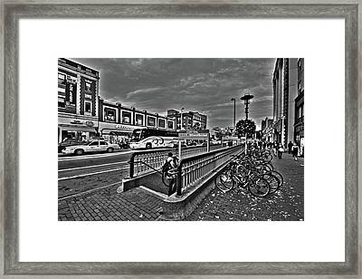 Central Square Cambridge Ma Black And White Framed Print by Toby McGuire